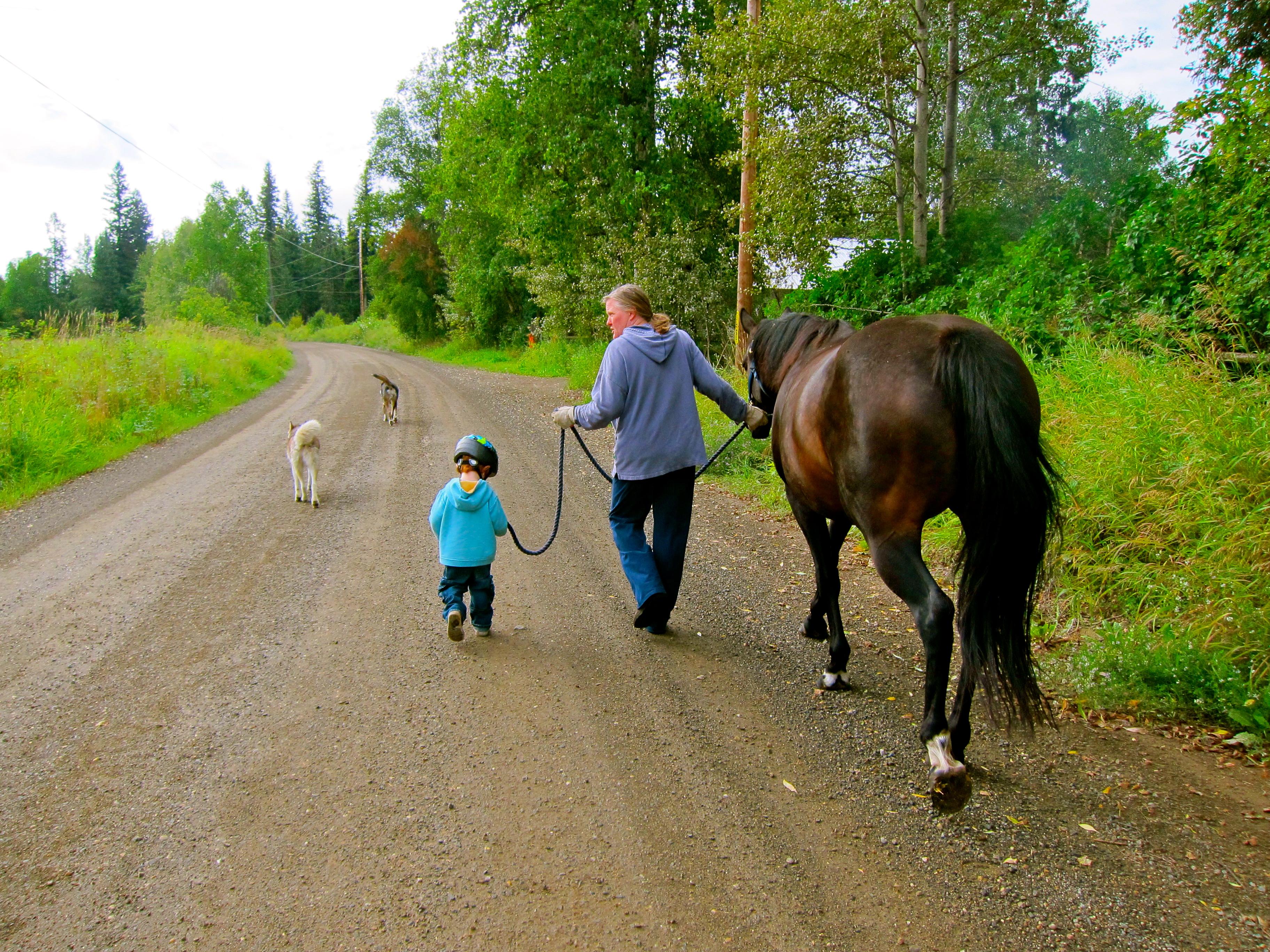 Max leads me leading Freya.